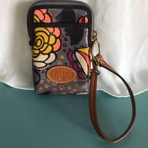 Fossil coated canvas wristlet wallet phone case